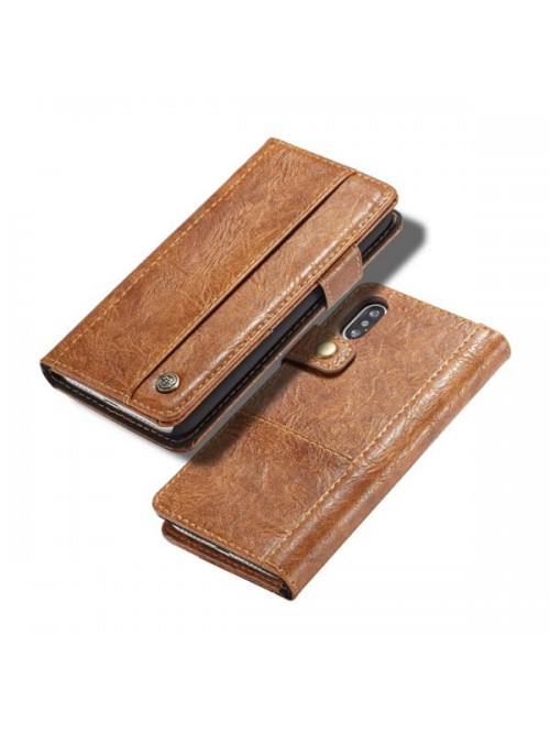 Handcrafted Crazy Horse Leather Folio Case For iPhone Xs
