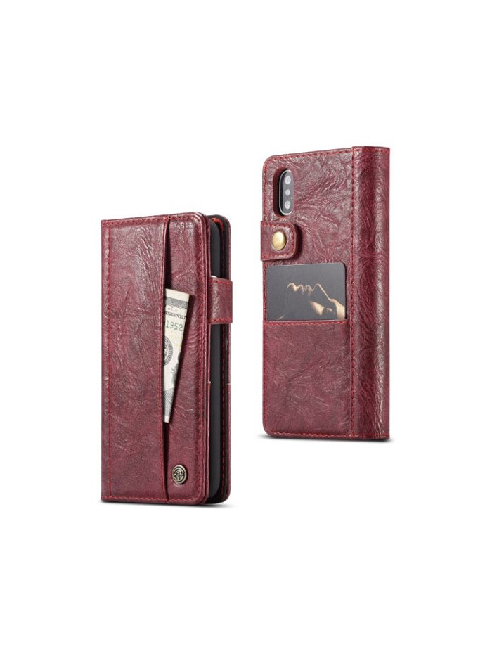 Handcrafted Crazy Horse Leather Folio Case For iPhone Xs Max