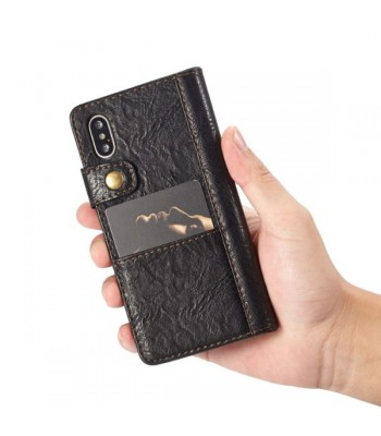 Handcrafted Crazy Horse Leather Folio Case For iPhone XR