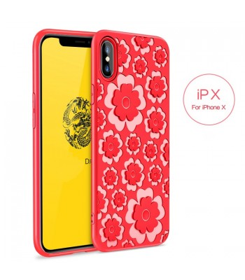 iPhone X 3D Relief Flower Protective Case