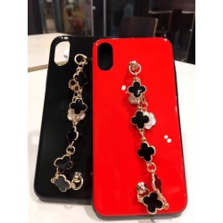 Protective iphone case with clover  chain
