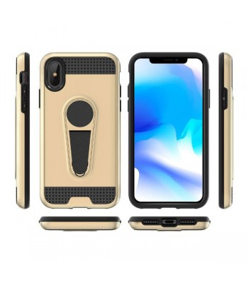 iPhone Xs Max Rugged Armor Magnetic Car Mount Case With Stand