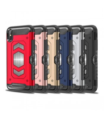 iPhone Xs Rugged Armor Magnetic Case With Hidden Side Card Holder