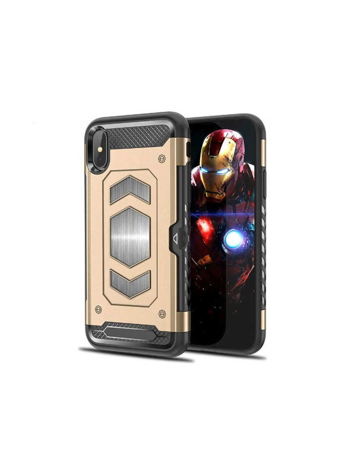 iPhone Xs Max Rugged Armor Magnetic Case With Hidden Side Card Holder