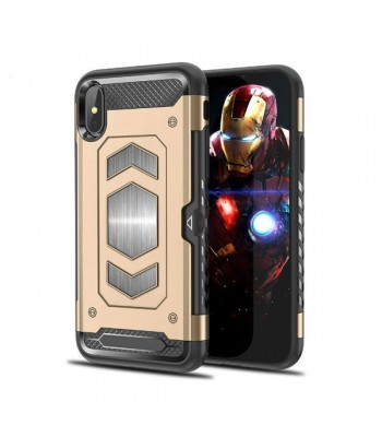 iPhone XR Rugged Armor Magnetic Case With Hidden Side Card Holder
