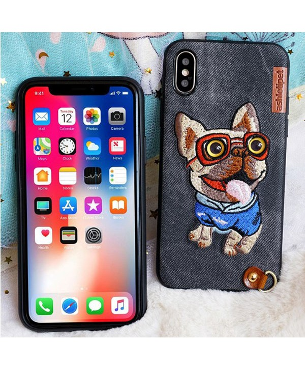 iPhone X Cloth Texture Embroidery Case