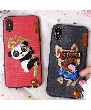 iPhone Xs Max Cloth Texture Embroidery Case