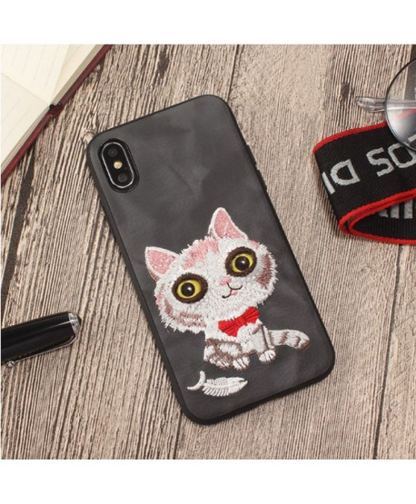 iPhone 3D Cartoon Embroidered Case - Kitty