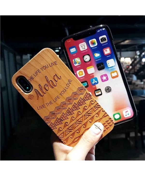 Wood Carved iPhone Protective Case - Aloha