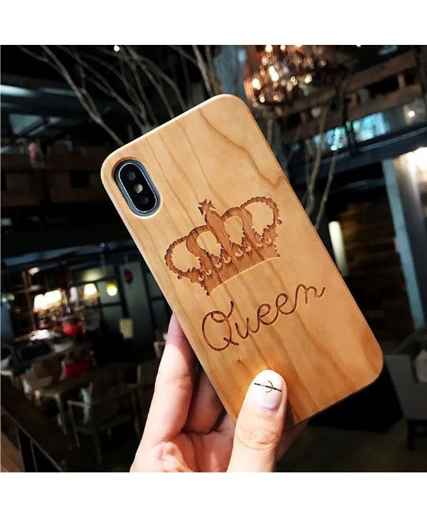 Wood Carved iPhone Protective Case - Queen Crown