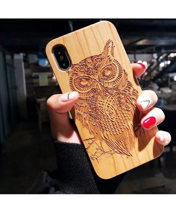 Wood Carved iPhone Protective Case - Owl