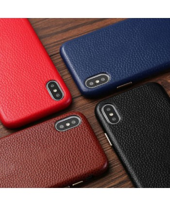 iPhone X Lychee Grain Genuine Leather Case