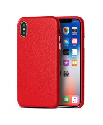 iPhone Xs Max Lychee Grain Genuine Leather Case