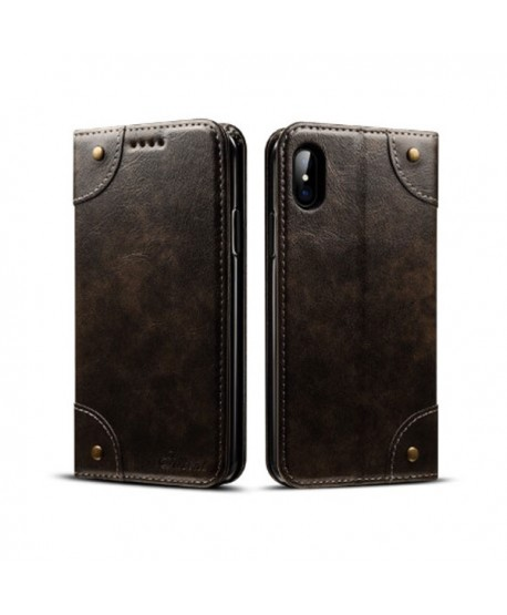 iPhone X Handcraft Leather Folio Case With Card Holder
