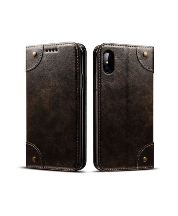 iPhone Xs Handcraft Leather Folio Case With Card Holder