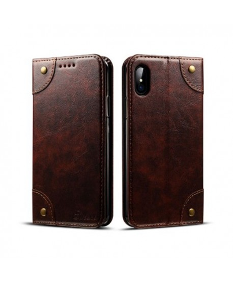 iPhone Xs Max Handcraft Leather Folio Case With Card Holder