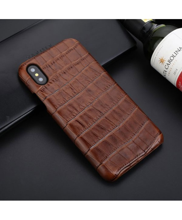 iPhone Xs Crocodile Grain Genuine Leather Business Case