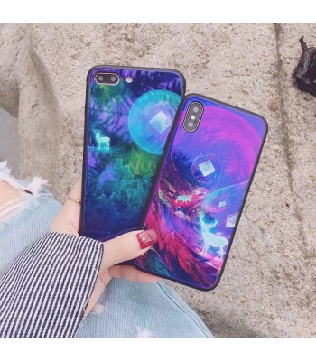iPhone X Blue Ray Animal Fawn Tempered Glass Case
