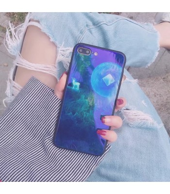 iPhone 8/Plus Blue Ray Animal Fawn Tempered Glass Case