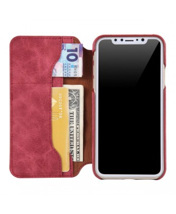 iPhone X Handcrafted Leather Book-style Flip Case