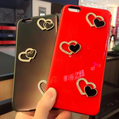 Bling 3D Fashion Love heart Crystal Diamond Back Cover Soft TPU iPhone 6 7 8/Plus/X Case