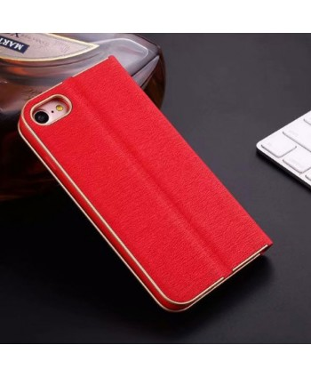 iPhone Silk Grain Leather Flip Case - Red
