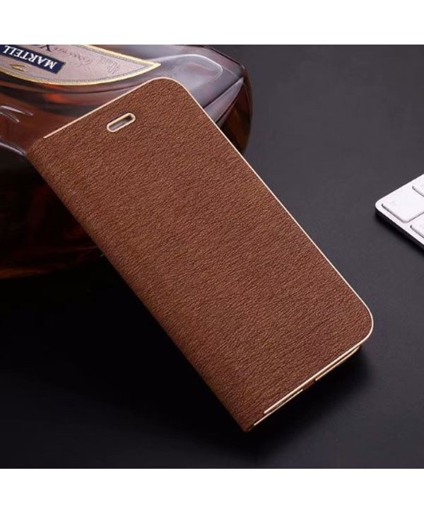 iPhone Silk Grain Leather Flip Case - Brown