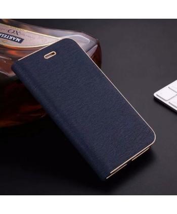 iPhone Silk Grain Leather Flip Case - Navy Blue