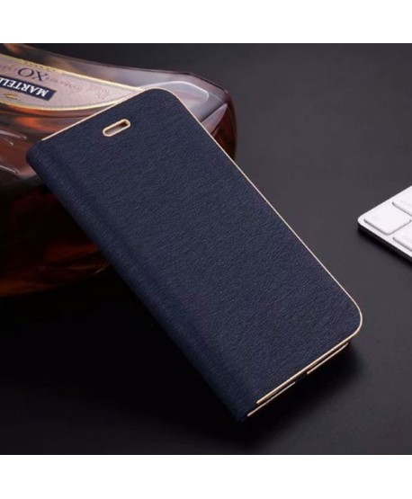 iPhone Silk Grain Leather Flip Case - Navy Blue