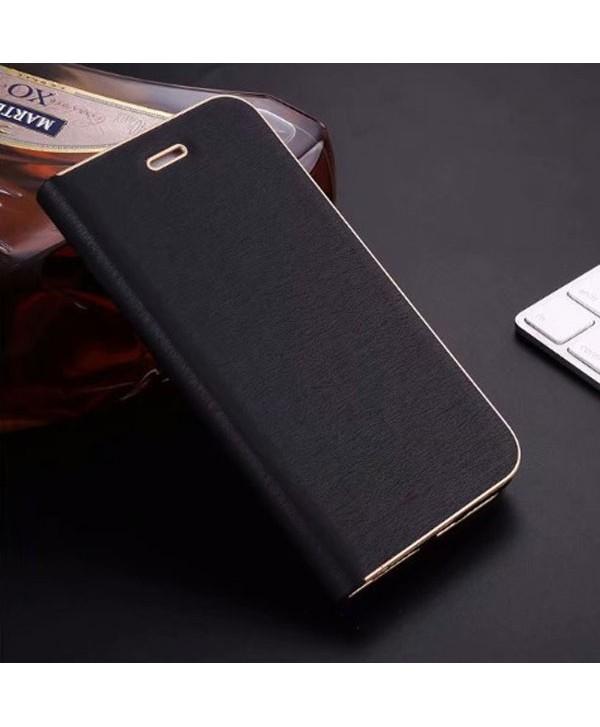 iPhone Silk Grain Leather Flip Case - Black