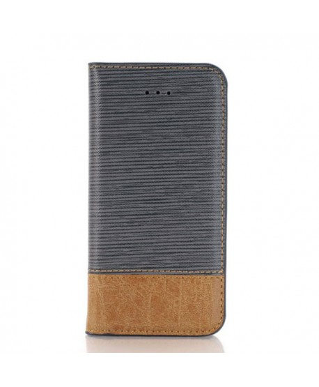 iPhone Cross Grain Leather Flip Case - Grey