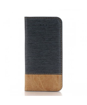 iPhone Cross Grain Leather Flip Case - Navy Blue