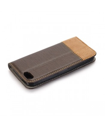 iPhone Cross Grain Leather Flip Case - Dark Brown