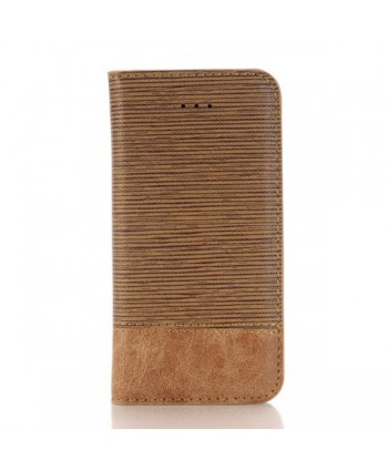 iPhone Cross Grain Leather Flip Case - Brown