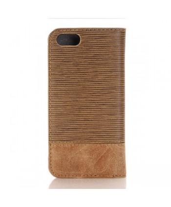 iPhone Cross Grain Leather Flip Case - Brown