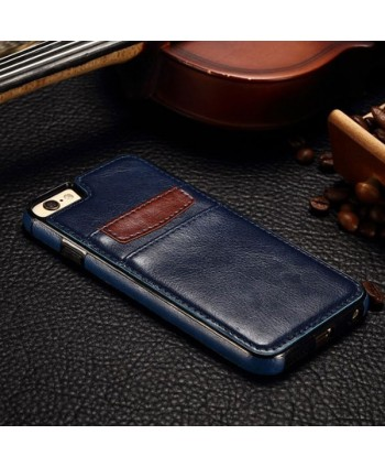 iPhone Leather Card Back Case - Navy Blue
