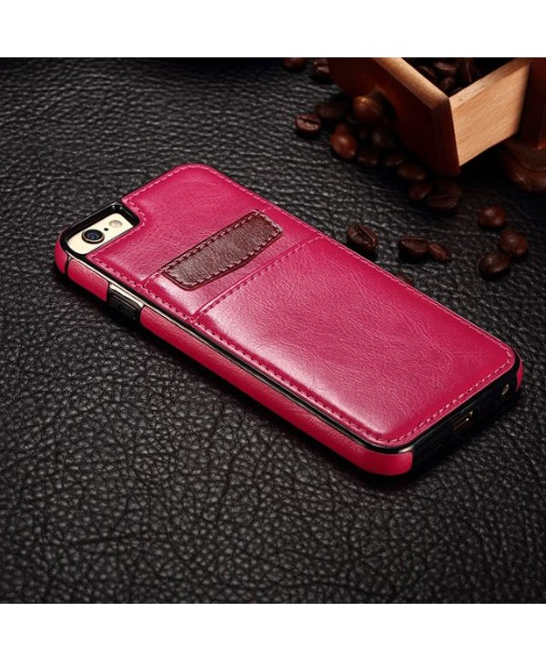 iPhone Leather Card Back Case - Rose Red