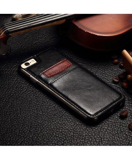 iPhone Leather Card Back Case - black