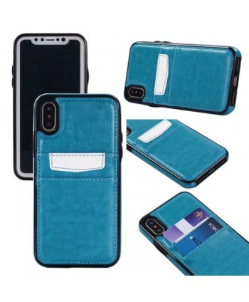iPhone Leather Card Back Case - Light Blue