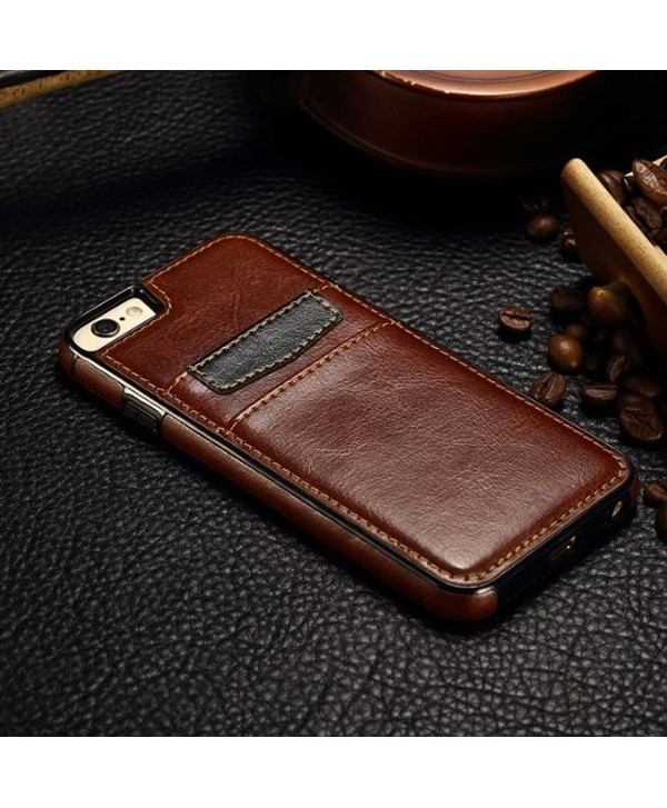 iPhone Leather Card Back Case - Brown