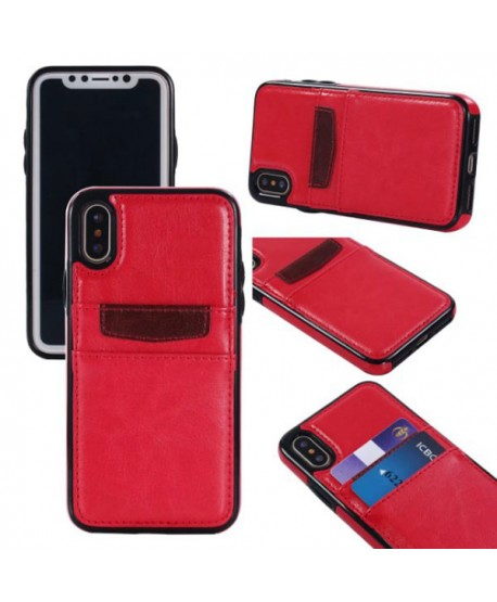 iPhone Leather Card Back Case - Red