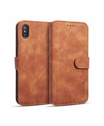 iPhone Vintage Leather Wallet Folio Case - Khaki