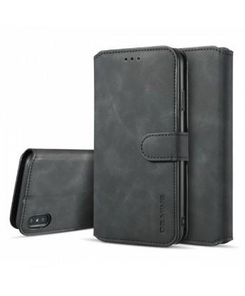 iPhone Vintage Leather Wallet Folio Case - Black