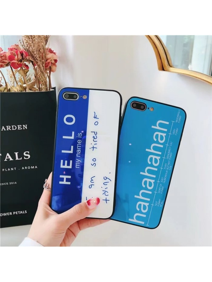 iPhone X Glossy English Letter Tempered Glass Case