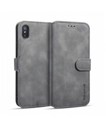 iPhone Vintage Leather Wallet Folio Case - Grey