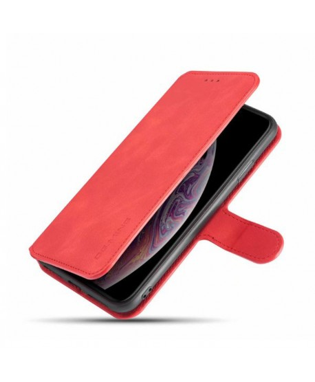 iPhone Vintage Leather Wallet Folio Case - Red