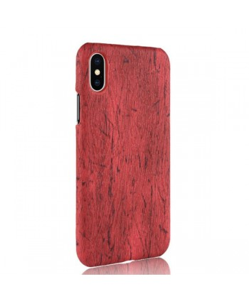 iPhone Xs Max Slim Wood Grain Leather Case