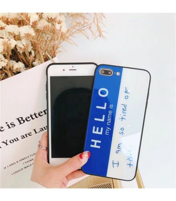 iPhone 8/Plus Glossy English Letter Tempered Glass Case