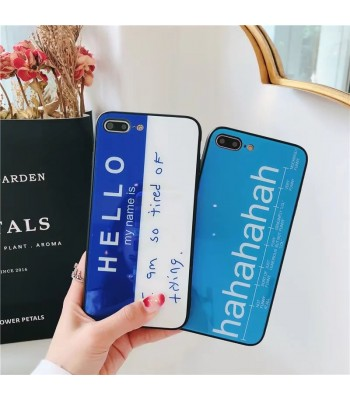 iPhone 7/Plus Glossy English Letter Tempered Glass Case