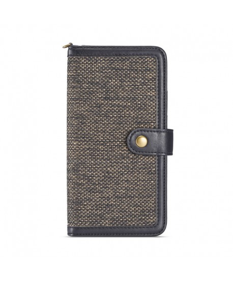 iPhone Canvas Genuine Leather Folio Case - Black
